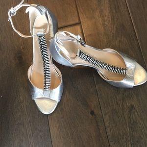 Silver rhinestone shoe